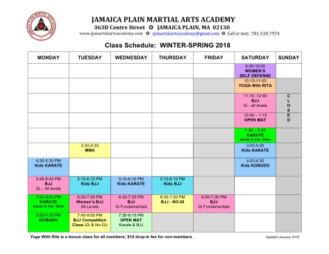 2018 Winter-Spring schedule