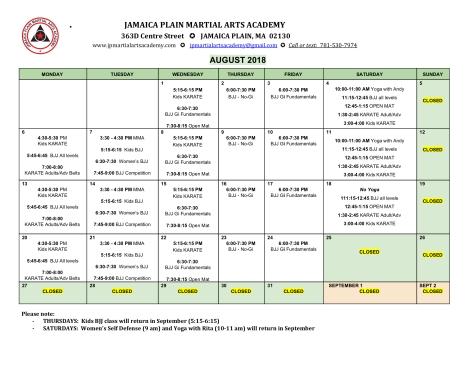 2018 August schedule