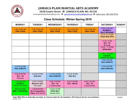 2019 Winter-Spring schedule