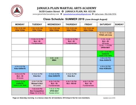 2019 Summer schedule