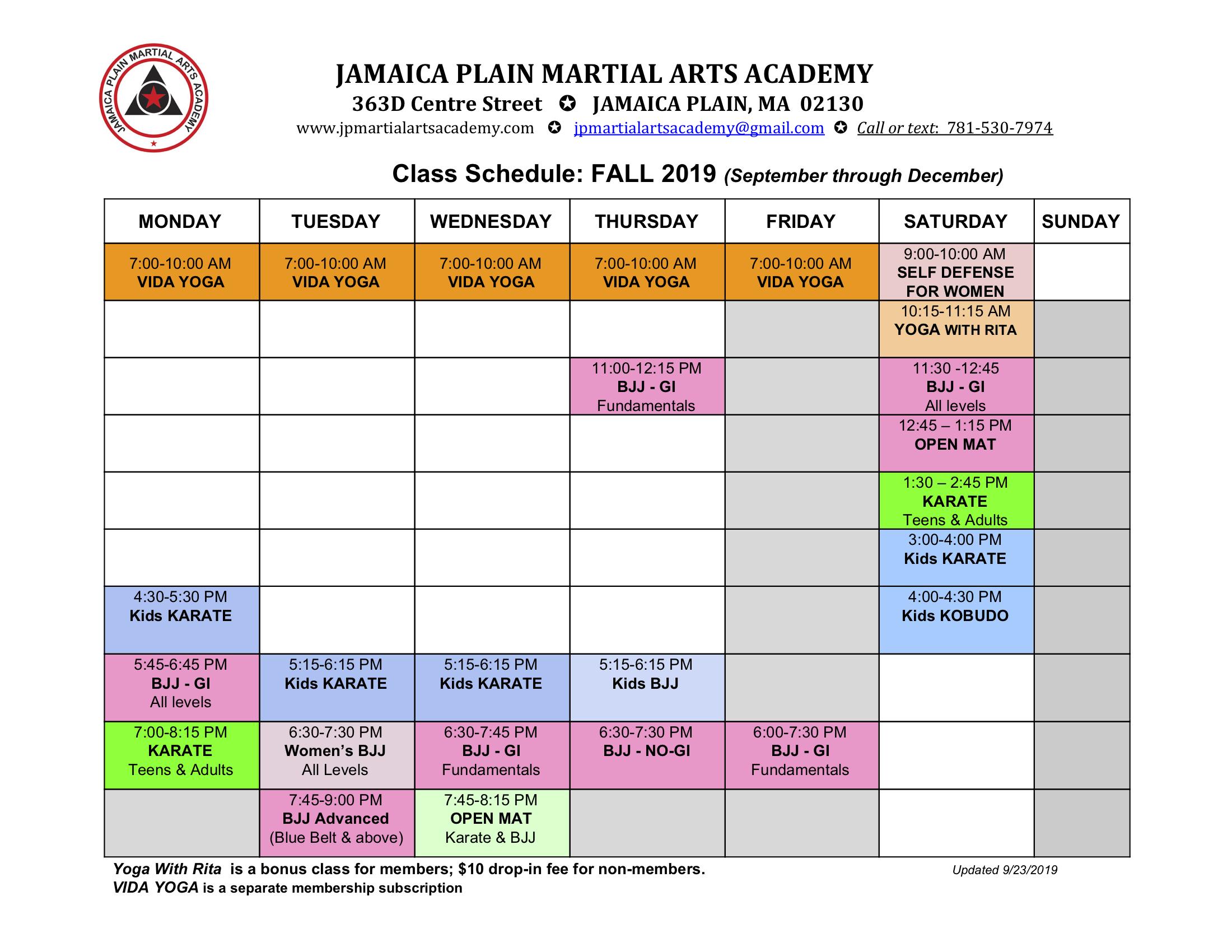 2019 Fall schedule V2