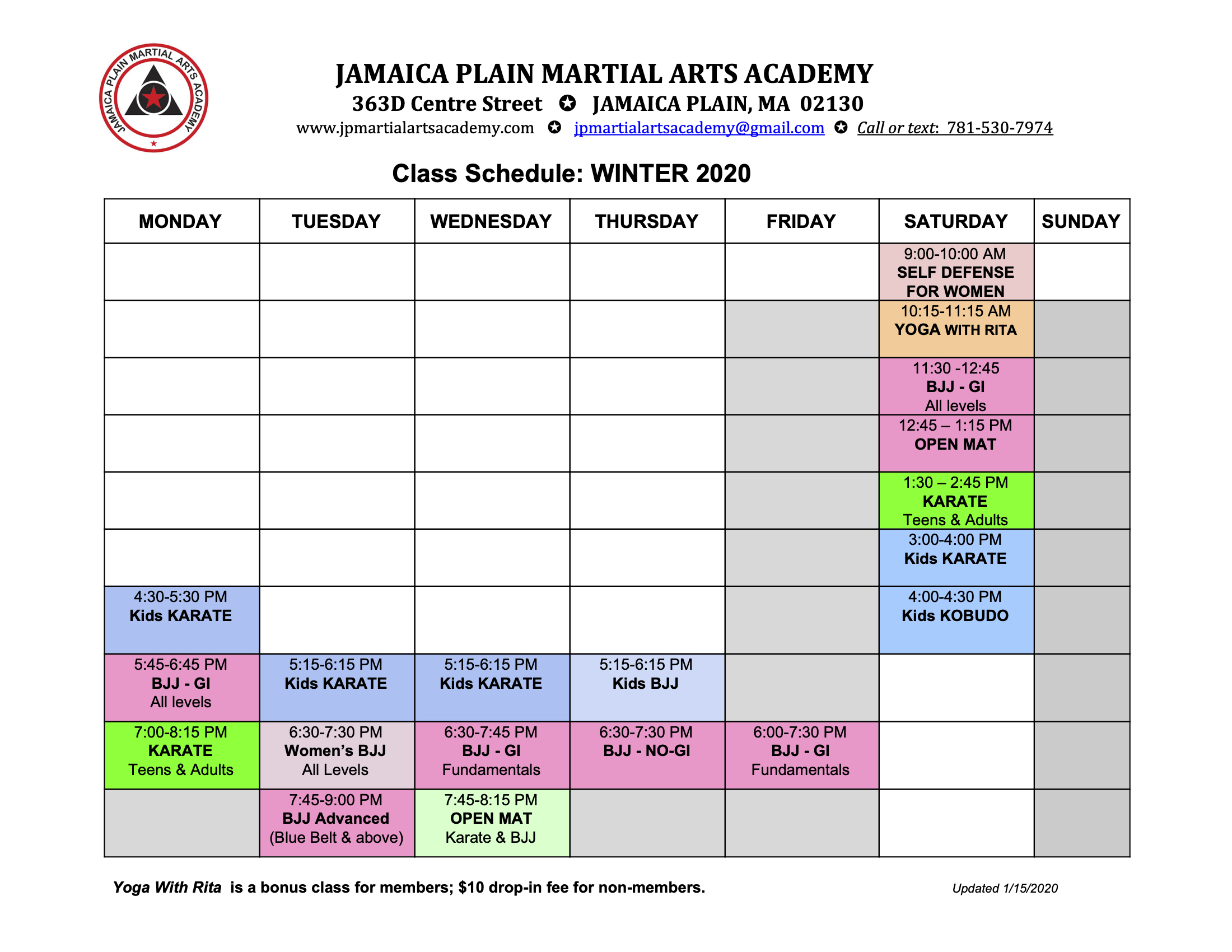 2020 Winter schedule