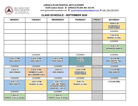 September 2020 Revised Schedule