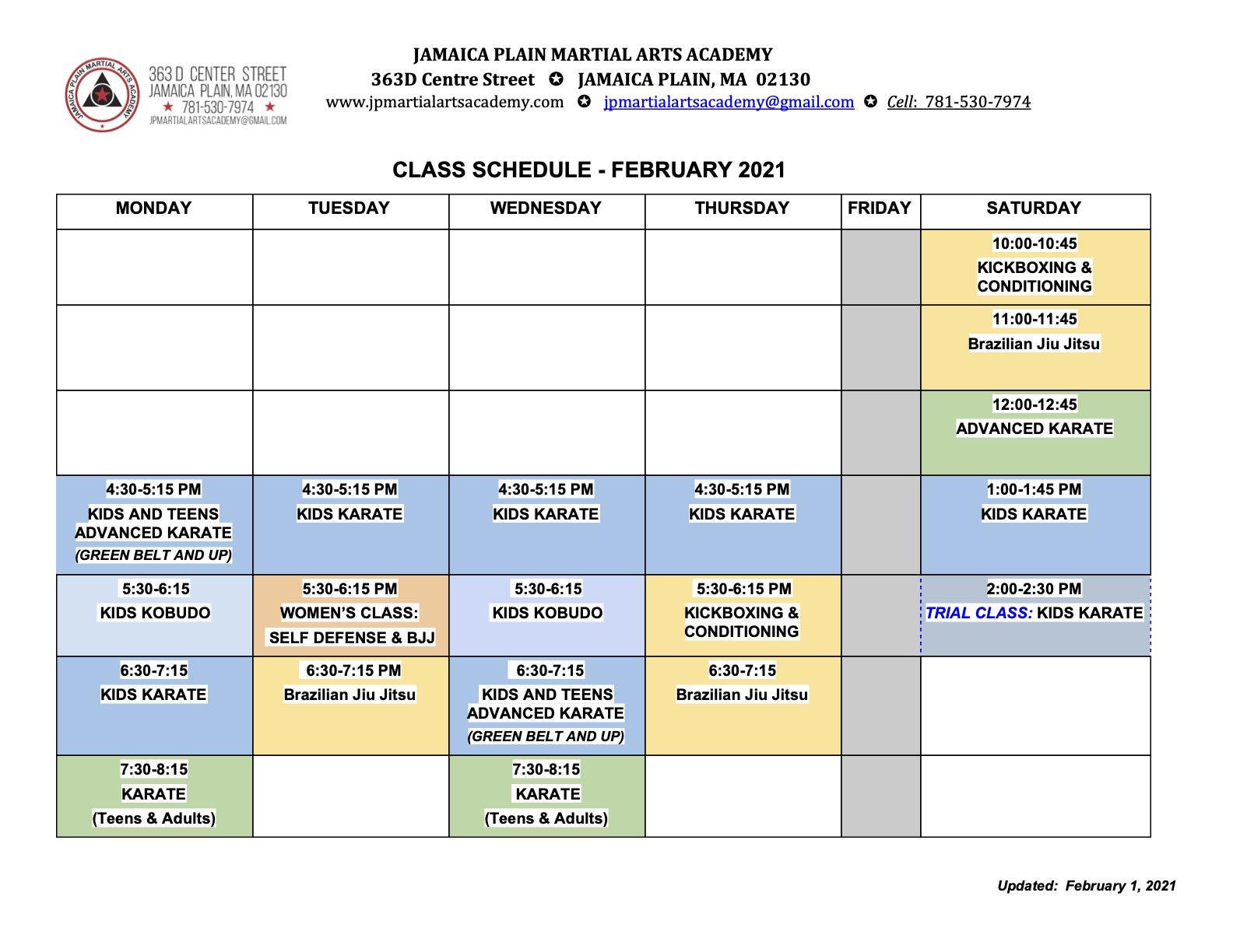 February 2021 Schedule